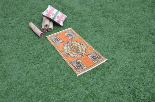 "Turkish Handmade Vintage Small Area Rug Doormat For Home Decor 3'1"" X 1'5,3"""