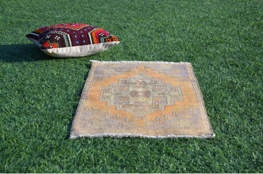 """Natural Turkish Vintage Small Area Rug Doormat For Home Decor 2'11,4"""" X 1'6,9"""""""