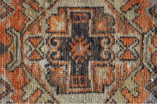 "Vintage Handmade Turkish Small Area Rug Doormat For Home Decor 2'8,7"" X 1'5,3"""