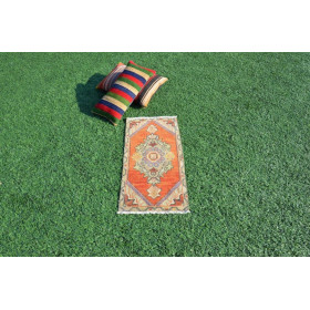 """Natural Turkish Vintage Small Area Rug Doormat For Home Decor 2'10,6"""" X 1'4,5"""""""