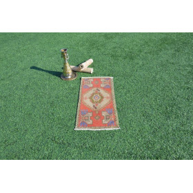 "Turkish Handmade Vintage Small Area Rug Doormat For Home Decor 3'1,8"" X 1'6,1"""