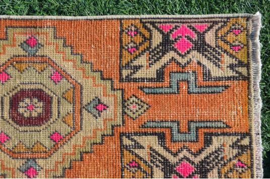 "Turkish Handmade Vintage Small Area Rug Doormat For Home Decor 3'0,6"" X 1'3,7"""
