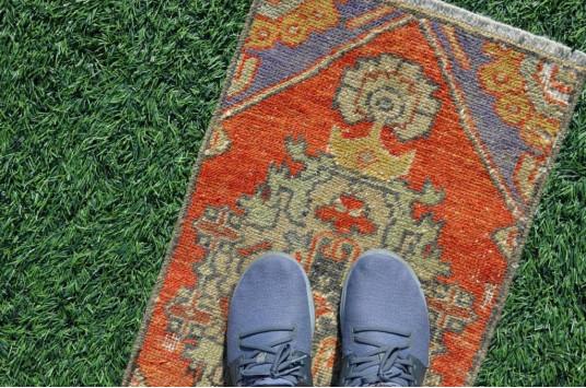 "Handmade Turkish Vintage Small Area Rug Doormat For Home Decor 2'8,3"" X 1'4,9"""