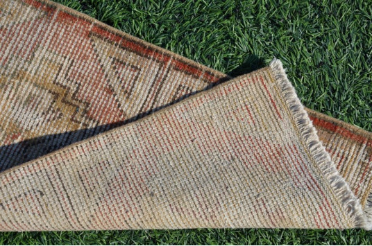 """Natural Turkish Vintage Small Area Rug Doormat For Home Decor 3'0,2"""" X 1'4,1"""""""