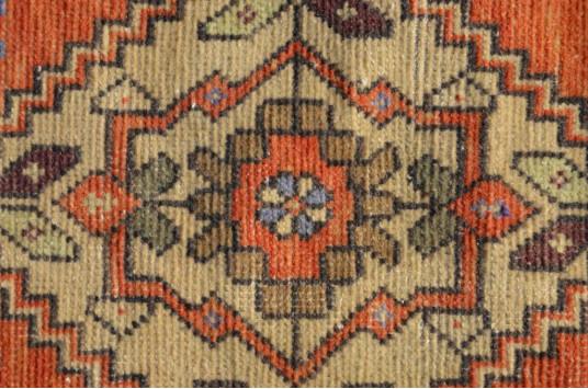 "Turkish Handmade Vintage Small Area Rug Doormat For Home Decor 3'1,4"" X 1'5,7"""