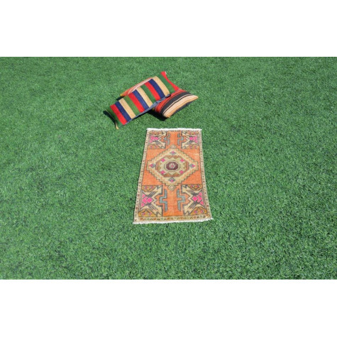 """Natural Turkish Vintage Small Area Rug Doormat For Home Decor 3'1,8"""" X 1'4,5"""""""