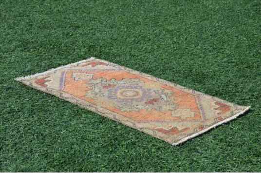 "Turkish Handmade Vintage Small Area Rug Doormat For Home Decor 2'11,8"" X 1'6,1"""