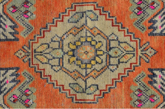 """Natural Turkish Vintage Small Area Rug Doormat For Home Decor 3'1,8"""" X 1'6,1"""""""