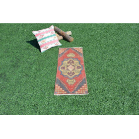 "Unique  Turkish Vintage Small Area Rug Doormat For Home Decor 3'2,2"" X 1'4,5"""