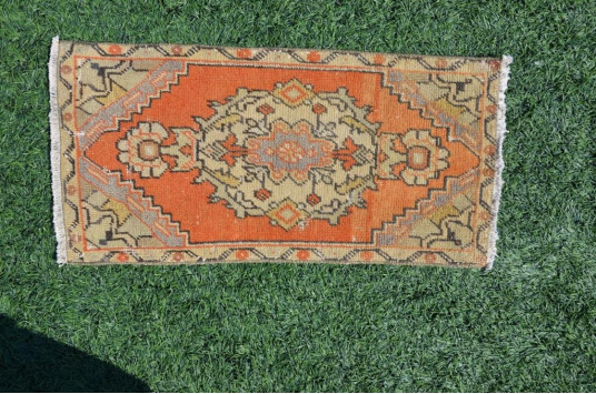 """Natural Turkish Vintage Small Area Rug Doormat For Home Decor 2'9,1"""" X 1'4,5"""""""