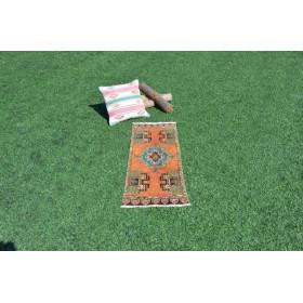 "Unique Turkish Vintage Small Area Rug Doormat For Home Decor 3'4,6"" X 1'4,1"""