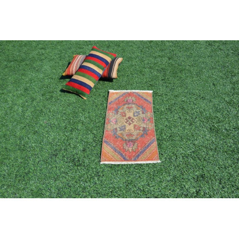 """Natural Turkish Vintage Small Area Rug Doormat For Home Decor 2'11"""" X 1'4,1"""""""