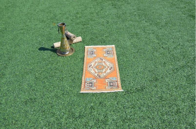 "Handmade Turkish Vintage Small Area Rug Doormat For Home Decor 3'0,6"" X 1'5,3"""