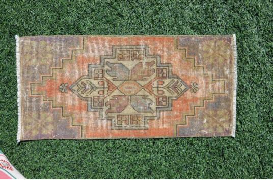 "Turkish Handmade Vintage Small Area Rug Doormat For Home Decor 3'1,4"" X 1'6,5"""