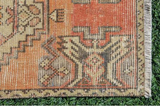 "Turkish Handmade Vintage Small Area Rug Doormat For Home Decor 3'1"" X 1'5,7"""
