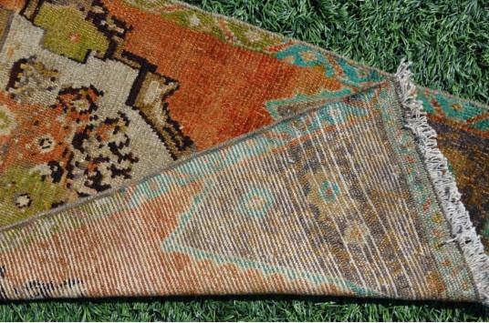 "Vintage Handmade Turkish Small Area Rug Doormat For Home Decor 3'2,6"" X 1'7,7"""
