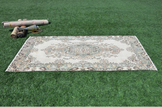 "Handmade Oushak Turkish Rug For Home Decor 7'3"" X 3'10,8"""