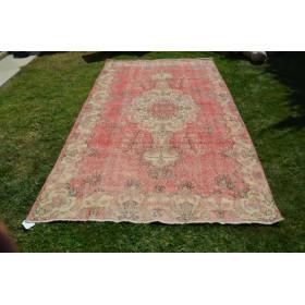 """Pink Turkish Large Vintage Rug For Home Decor 9'1,8"""" X 5'2,6"""""""