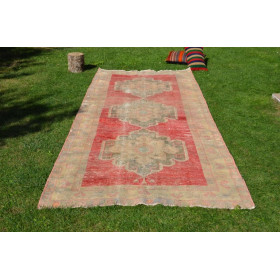 """Hand Knotted Turkish Large Vintage Rug For Home Decor 1'17,8"""" X 4'6,3"""""""