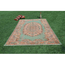 """Hand Knotted Turkish Large Vintage Rug For Home Decor 9'6,2"""" X 5'9,3"""""""