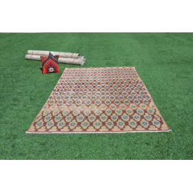 """Hand Knotted Turkish Large Vintage Rug For Home Decor 8'4,4"""" X 5'1,8"""""""