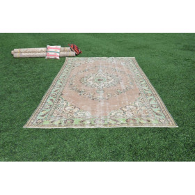 """Hand Knotted Turkish Large Vintage Rug For Home Decor 10'9,9"""" X 6'1,6"""""""