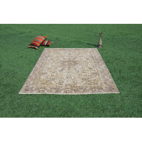 """Hand Knotted Turkish Large Vintage Rug For Home Decor 7'6,6"""" X 5'3,8"""""""