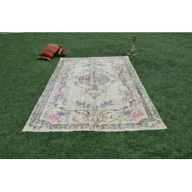 """Hand Knotted Turkish Retro Vintage Rug For Home Decor 9'3"""" X 5'3,8"""""""