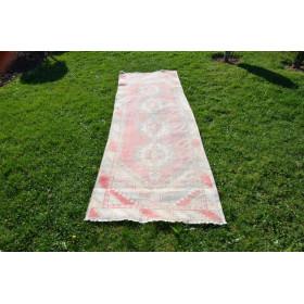 """Pink Vintage Turkish Runner Rug For Home Decor 8'9,1"""" X 2'10,6"""""""