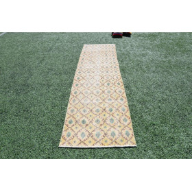 """Yellow Vintage Turkish Runner Rug For Home Decor 9'3,8"""" X 2'6,3"""""""