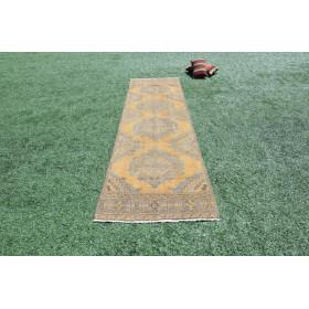 "Turkish Handmade Vintage Runner Rug For Home Decor 1'13,5"" X 2'11,8"""