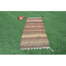 "Unique Vintage Turkish Runner Rug For Home Decor 1'41,4"" X 4'5,5"""