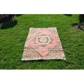 """Turkish Handmade Vintage Small Area Rug For Home Decor 5'0,6"""" X 3'5,7"""""""