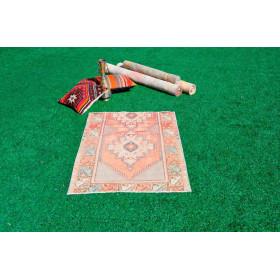 """Turkish Handmade Vintage Small Area Rug For Home Decor 3'11,2"""" X 2'8,7"""""""