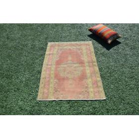 """Handmade Turkish Vintage Small Area Rug For Home Decor 3'10,1"""" X 2'9,9"""""""