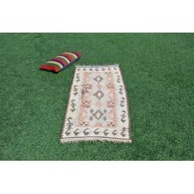 """Turkish Handmade Vintage Small Area Rug For Home Decor 5'0,2"""" X 2'0,8"""""""